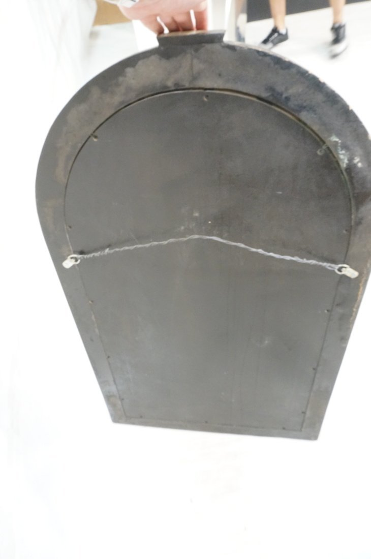 KARL SPRINGER style Lacquered Gray Arched Mirror. - 6
