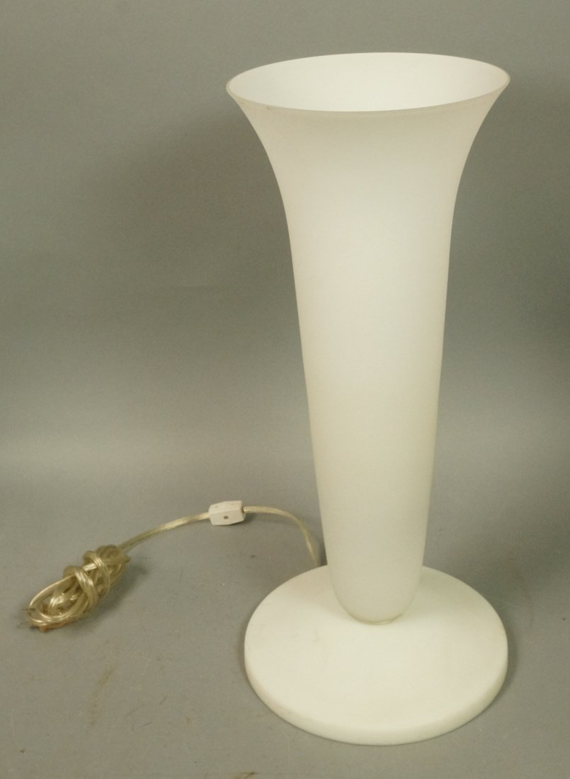 Luminaire frosted glass torch table lamp. Sticker