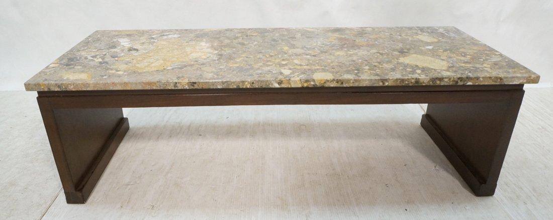 WIDDICOMB Granite Top Walnut Coffee Table. Marked