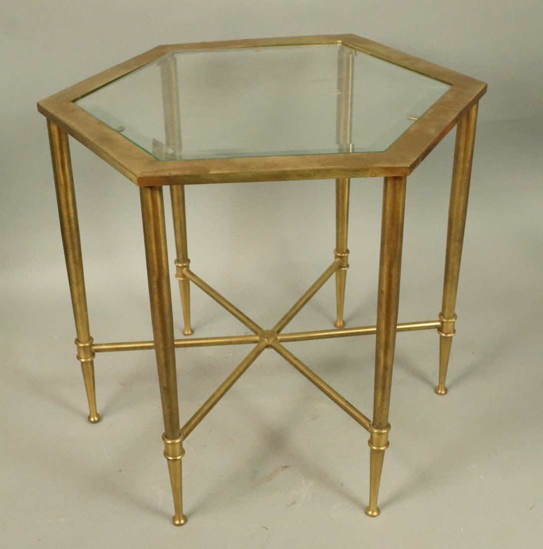 Hexagonal Brass Small Side Table. Inset beveled g