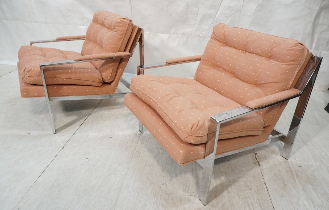 Pr MILO BAUGHMAN Lounge Chairs. Chrome Frame. Pat