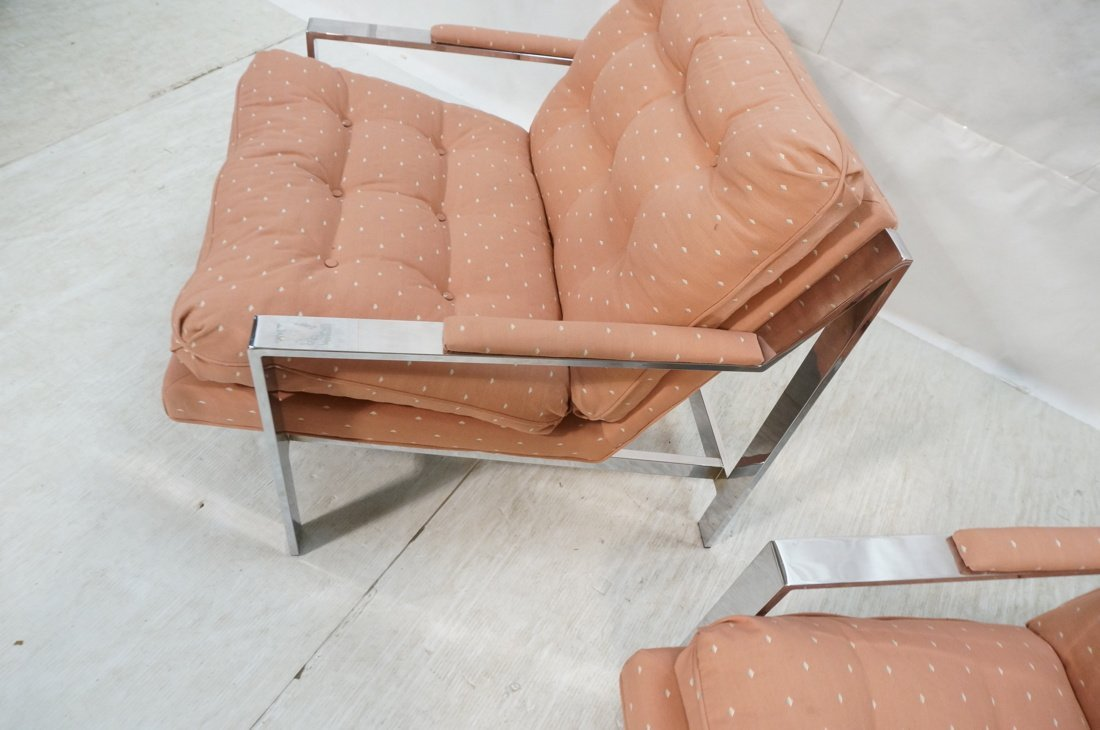 Pr MILO BAUGHMAN Lounge Chairs. Chrome Frame. Pat - 8