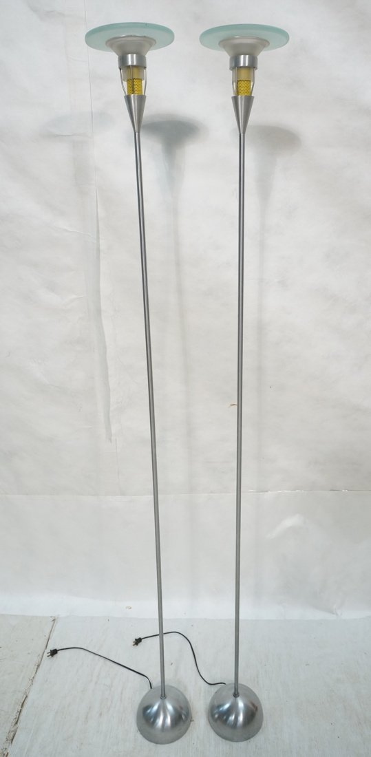 Pr Modern Frosted glass Floor Lamps. Possibly Ita