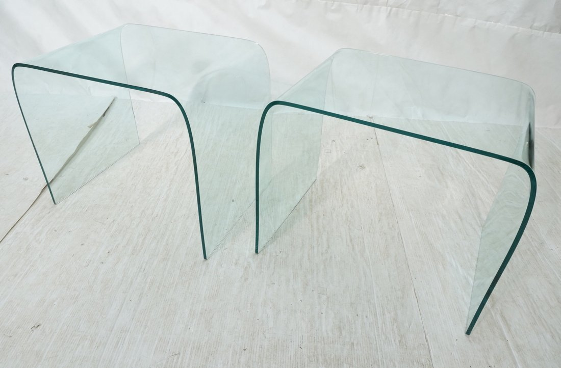 "Pr Slumped Glass Side Tables.  1/4"" thick glass."