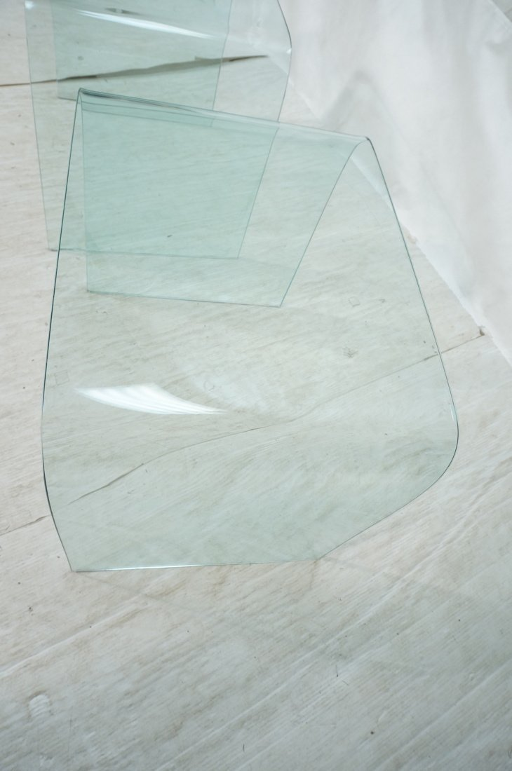 """Pr Slumped Glass Side Tables.  1/4"""" thick glass. - 2"""