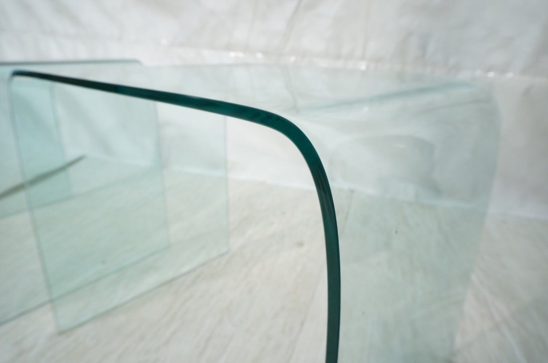 """Pr Slumped Glass Side Tables.  1/4"""" thick glass. - 3"""