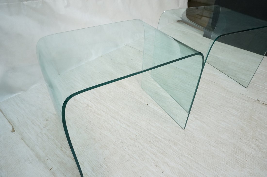 """Pr Slumped Glass Side Tables.  1/4"""" thick glass. - 4"""