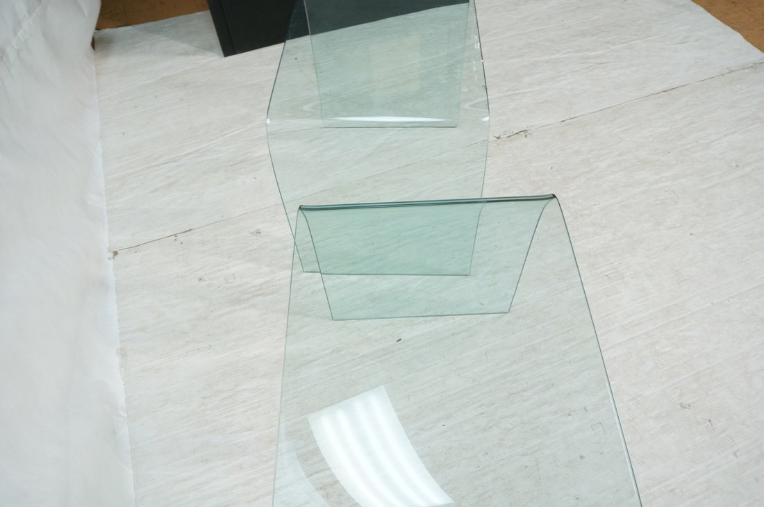 """Pr Slumped Glass Side Tables.  1/4"""" thick glass. - 5"""