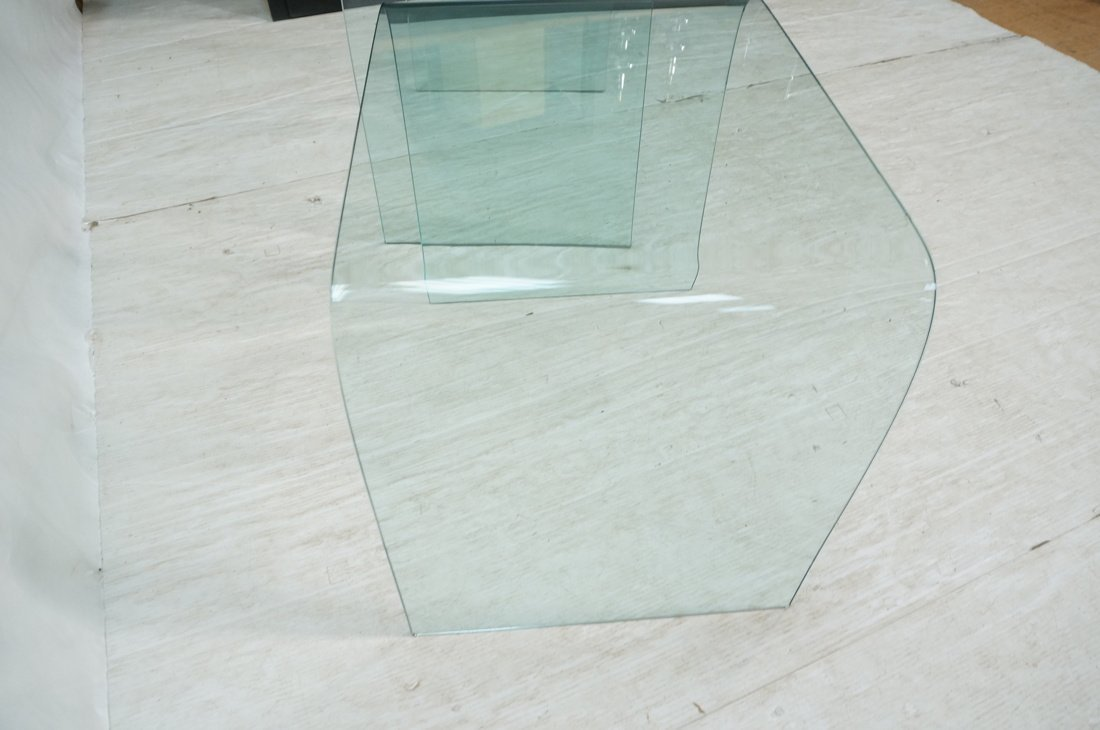 """Pr Slumped Glass Side Tables.  1/4"""" thick glass. - 6"""
