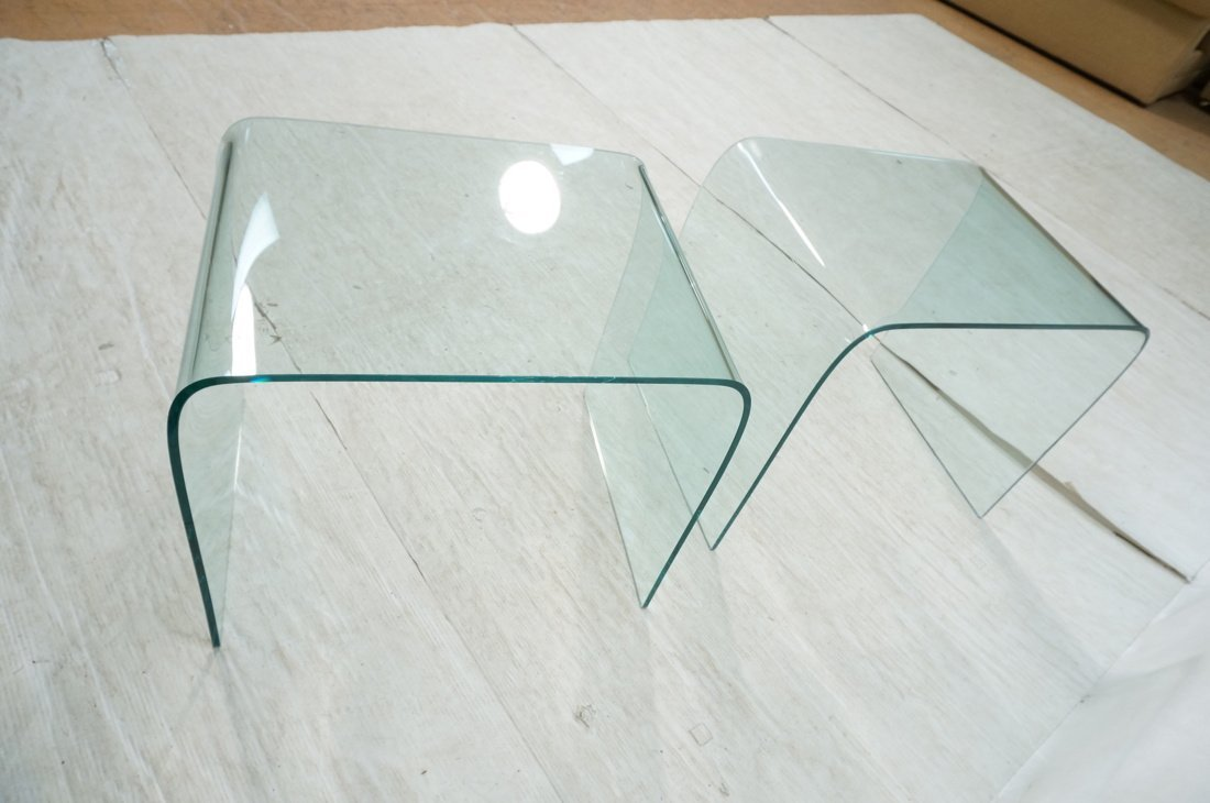 """Pr Slumped Glass Side Tables.  1/4"""" thick glass. - 7"""