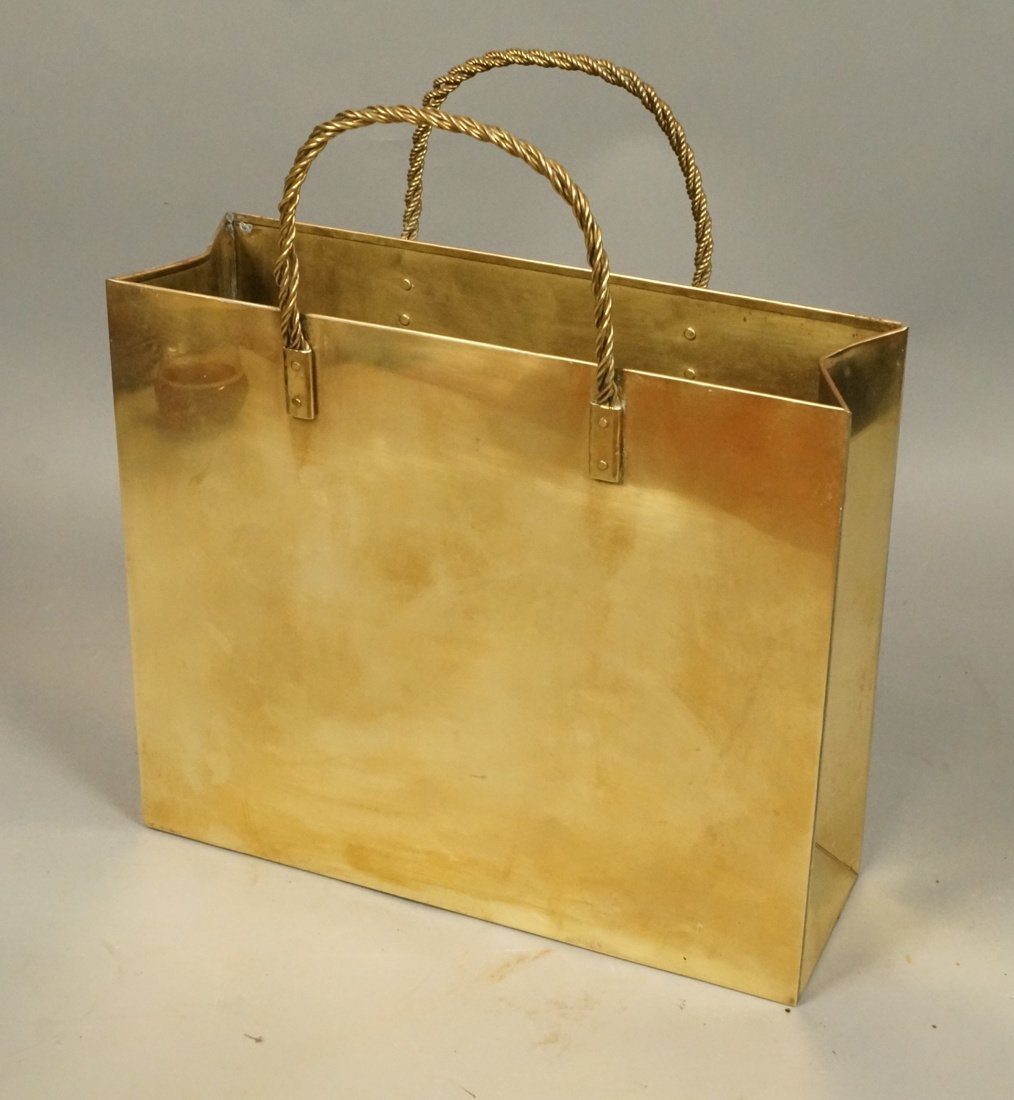 Decorator Brass Bag Magazine Stand. Possibly Ital