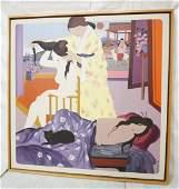 OSCAR D'AMICO Oil Painting. Three Geisha Girls wi