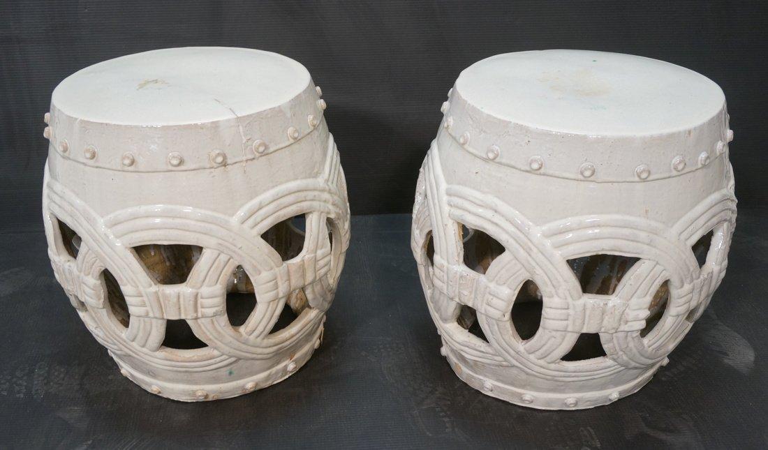 Pr Ceramic Large Drum form Garden Seats Stools. C