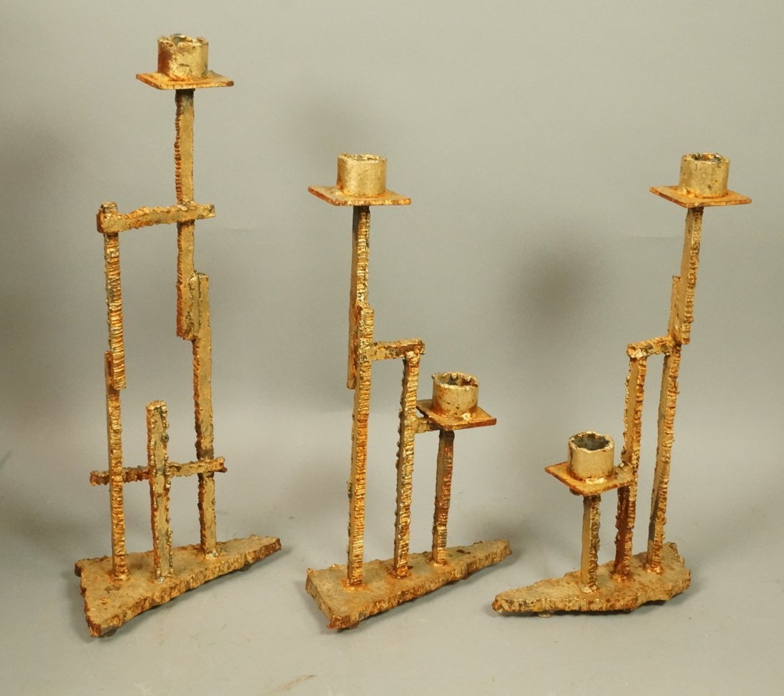 Set 3 Brutalist Iron Gold finish Sculptural Candl