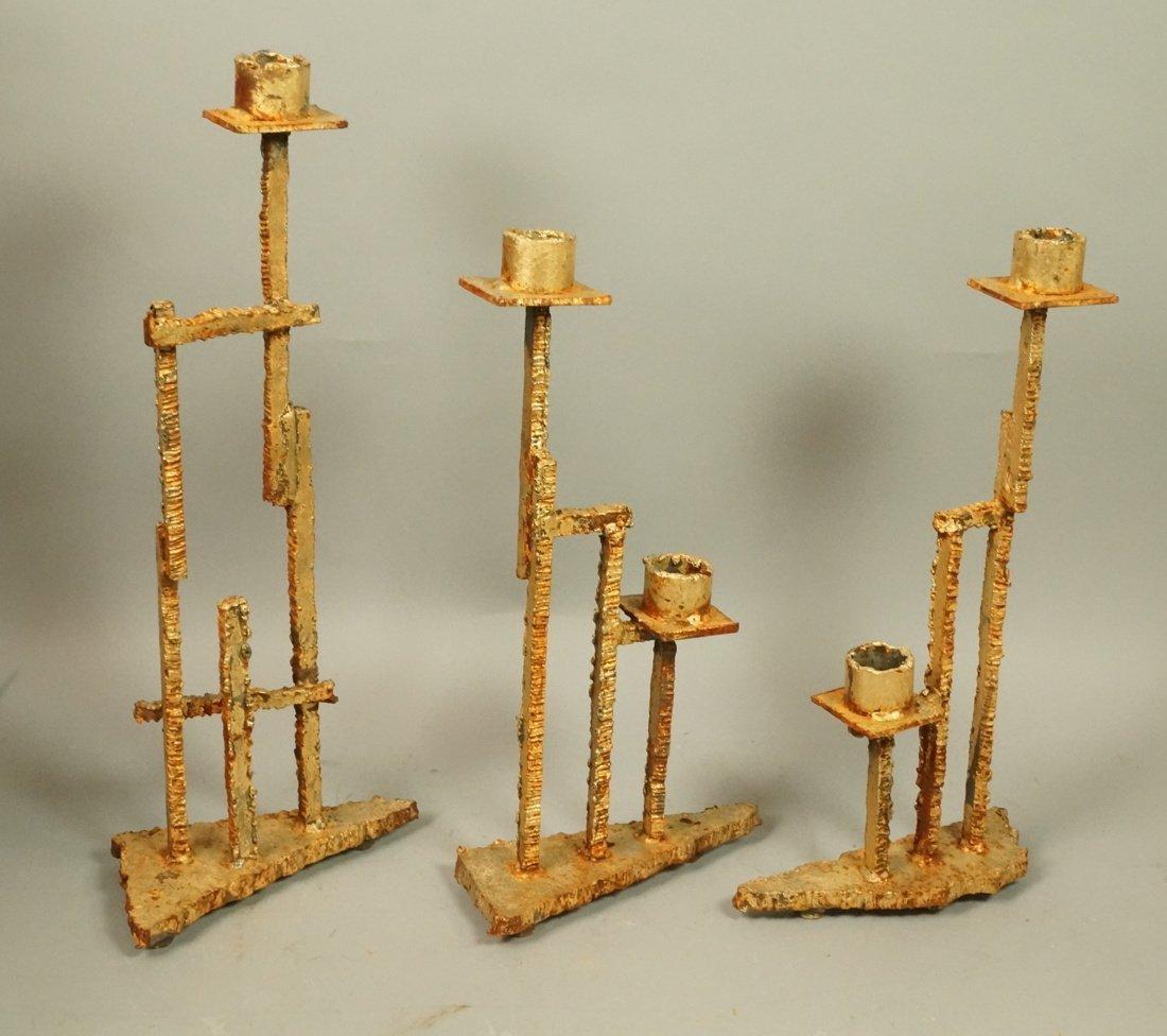 Set 3 Brutalist Iron Gold finish Sculptural Candl