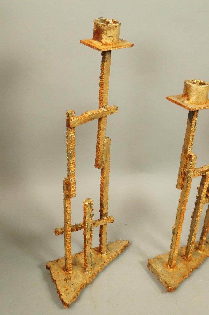 Set 3 Brutalist Iron Gold finish Sculptural Candl - 2