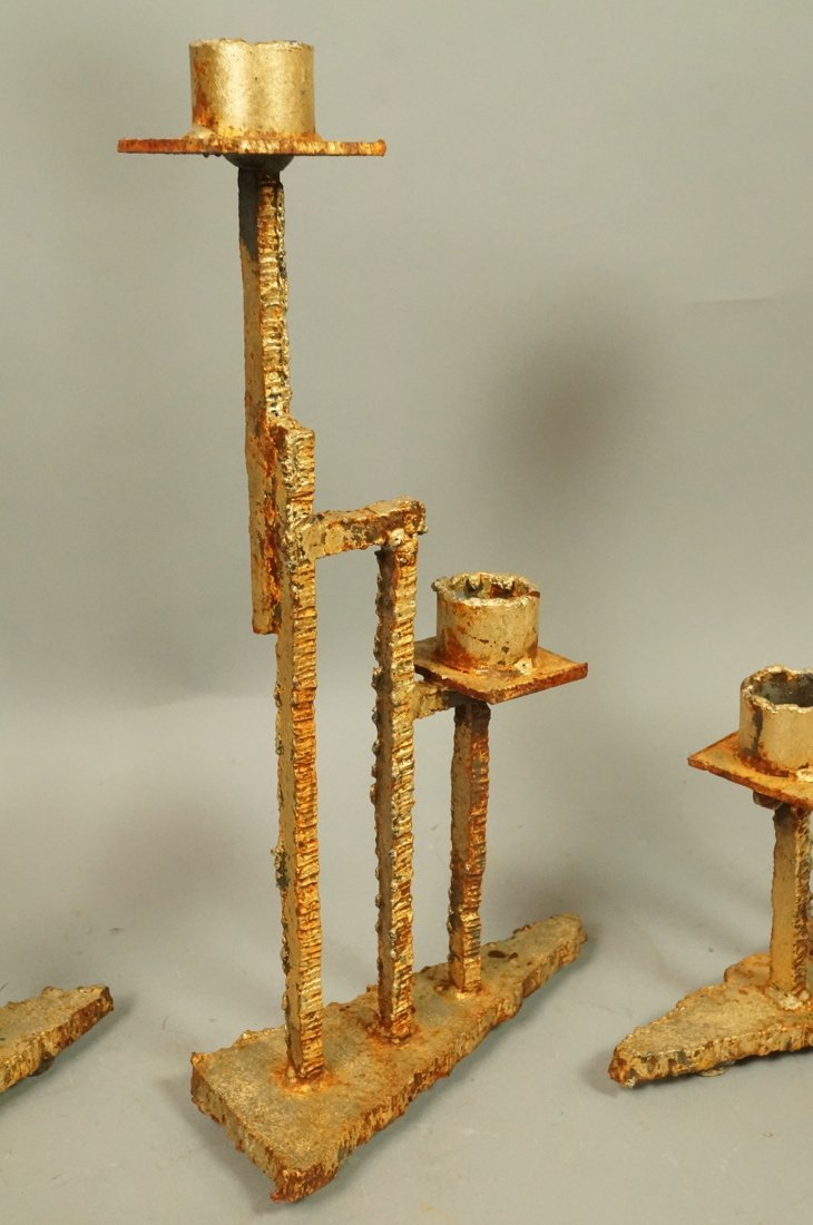 Set 3 Brutalist Iron Gold finish Sculptural Candl - 3