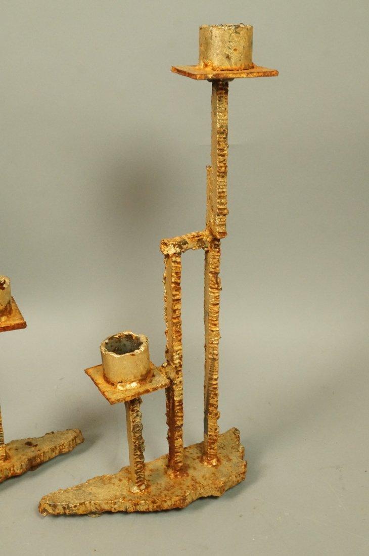 Set 3 Brutalist Iron Gold finish Sculptural Candl - 4