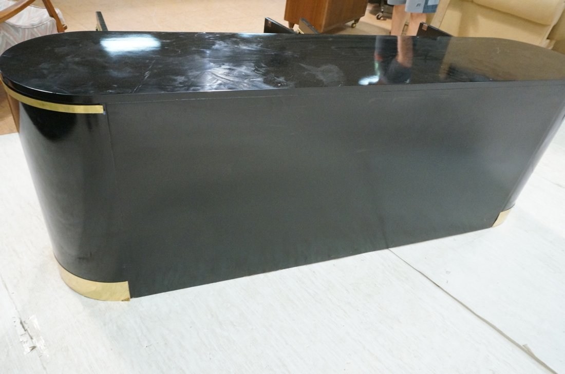 Black Lacquer Bowed Side MASTERCRAFT style Creden - 8