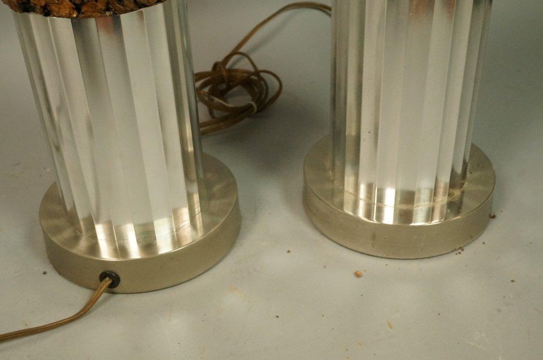 Pr Tall Cylindrical Cork Aluminum Modern Lamps. - 10