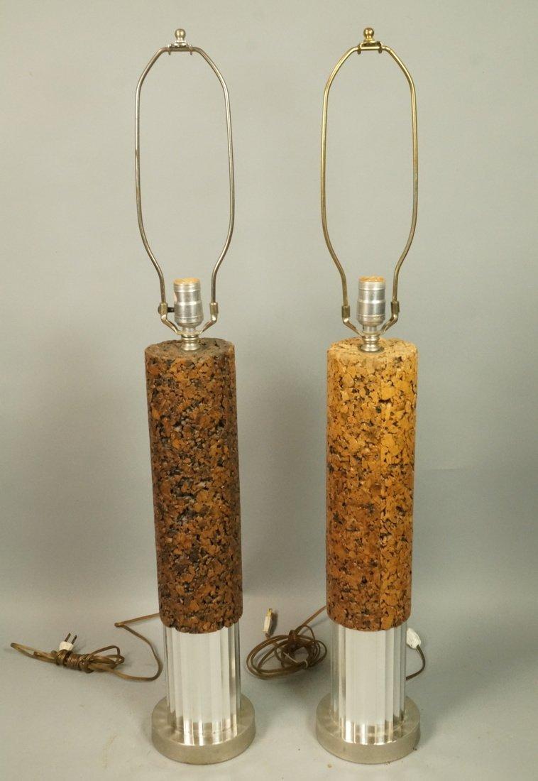 Pr Tall Cylindrical Cork Aluminum Modern Lamps.