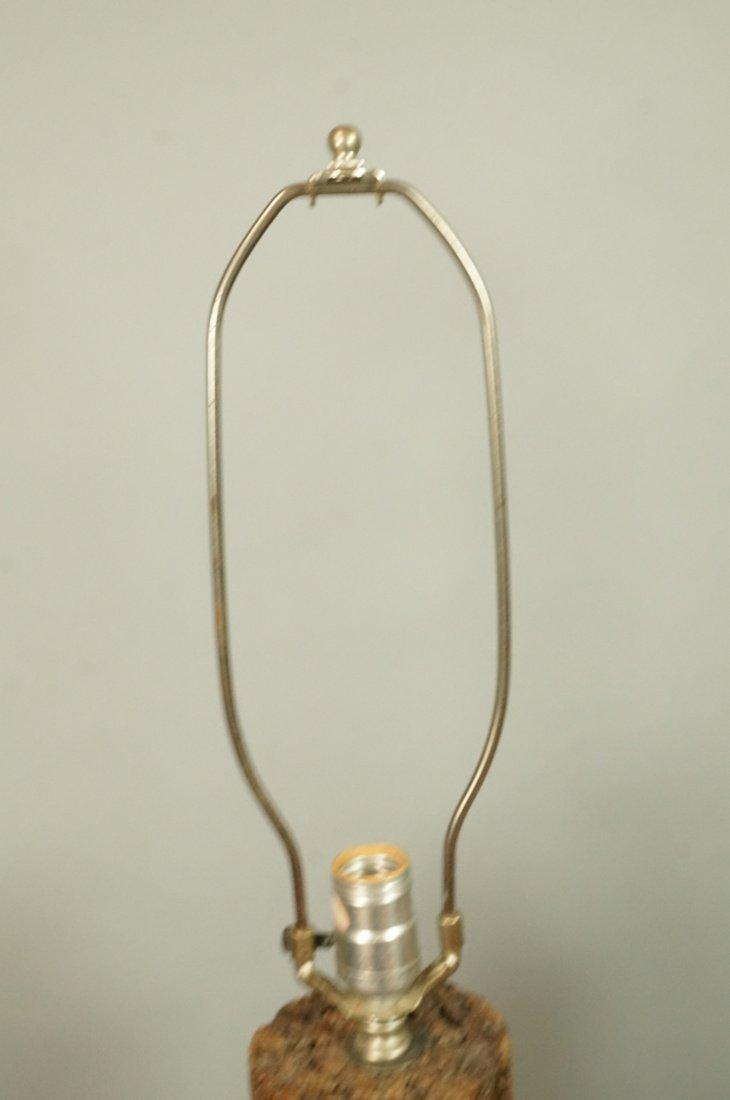 Pr Tall Cylindrical Cork Aluminum Modern Lamps. - 2
