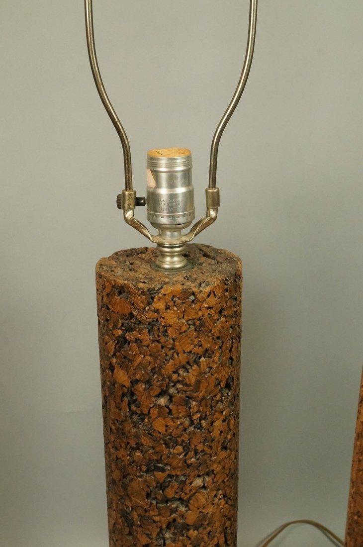 Pr Tall Cylindrical Cork Aluminum Modern Lamps. - 3