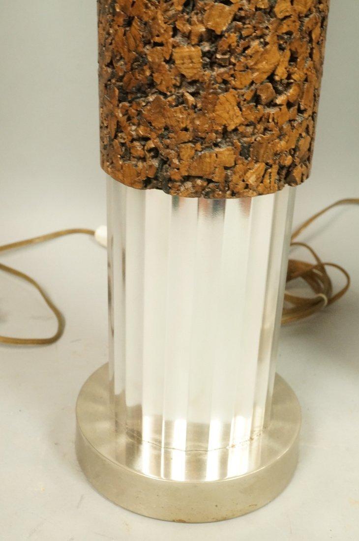 Pr Tall Cylindrical Cork Aluminum Modern Lamps. - 5