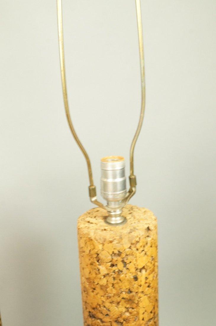 Pr Tall Cylindrical Cork Aluminum Modern Lamps. - 6