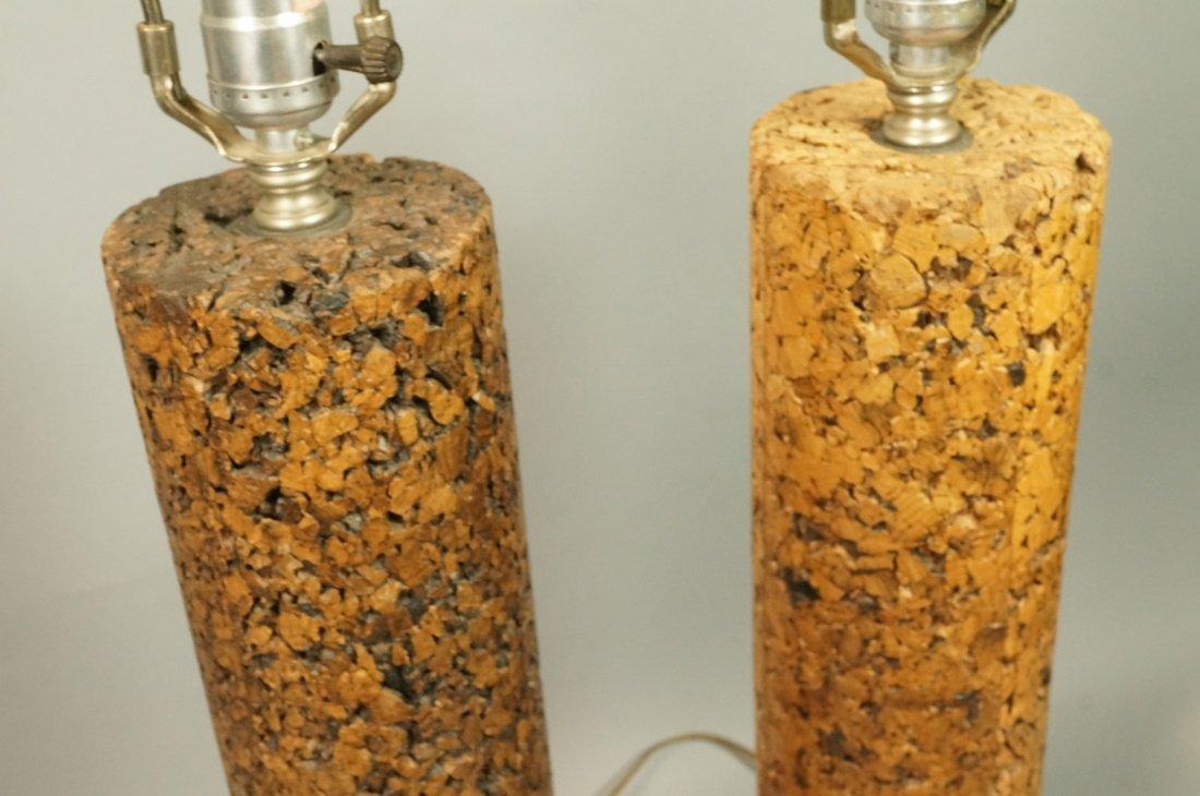 Pr Tall Cylindrical Cork Aluminum Modern Lamps. - 7