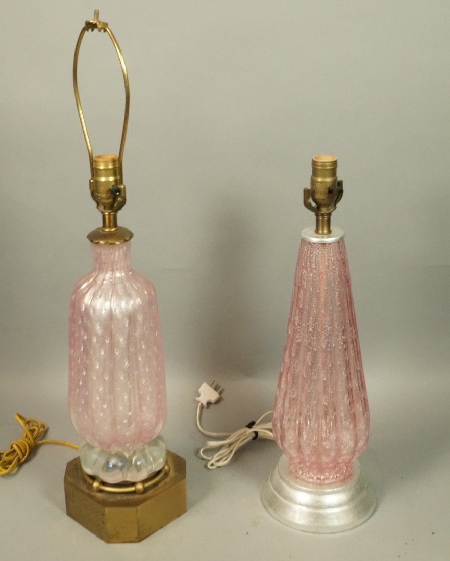 2pcs Pale Pink Murano Art Glass Table Lamps. Both