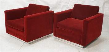 Pr Red mohair Cube Lounge Chairs. Milo Baughman style