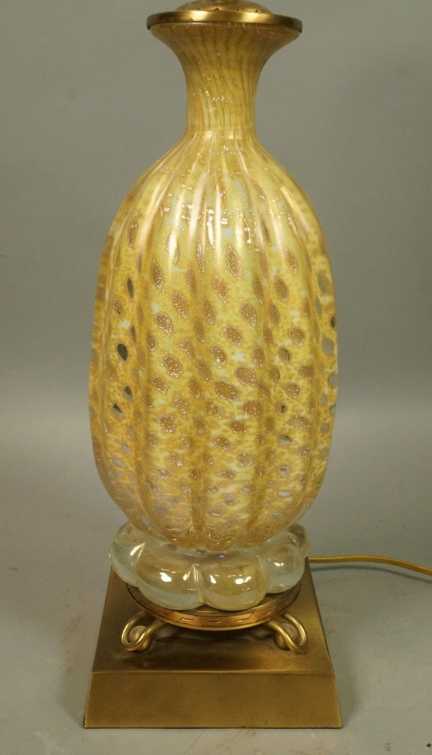 Murano Italian Gold Art Glass Lamp. Interior trap
