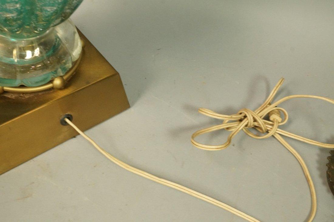 Murano Italian Teal Green Art Glass Lamp. Interio - 6