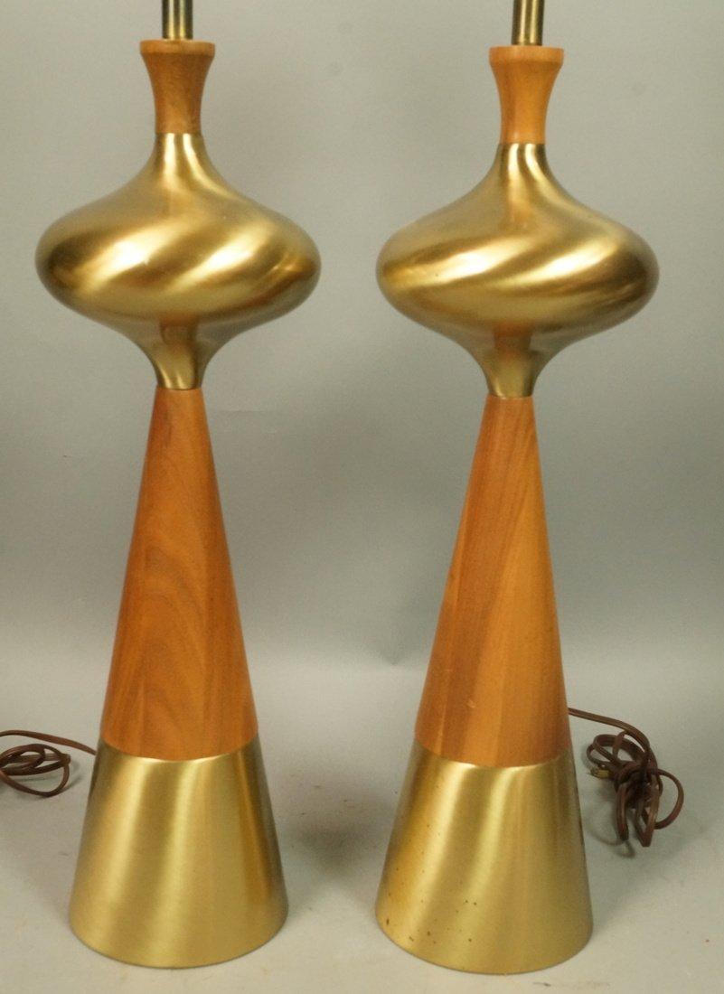 Pr American Modern Walnut & Brass Table Lamps TONY PAUL