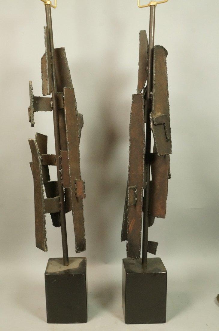 Pr LAUREL Brutalist Steel Sculpture Table Lamps.