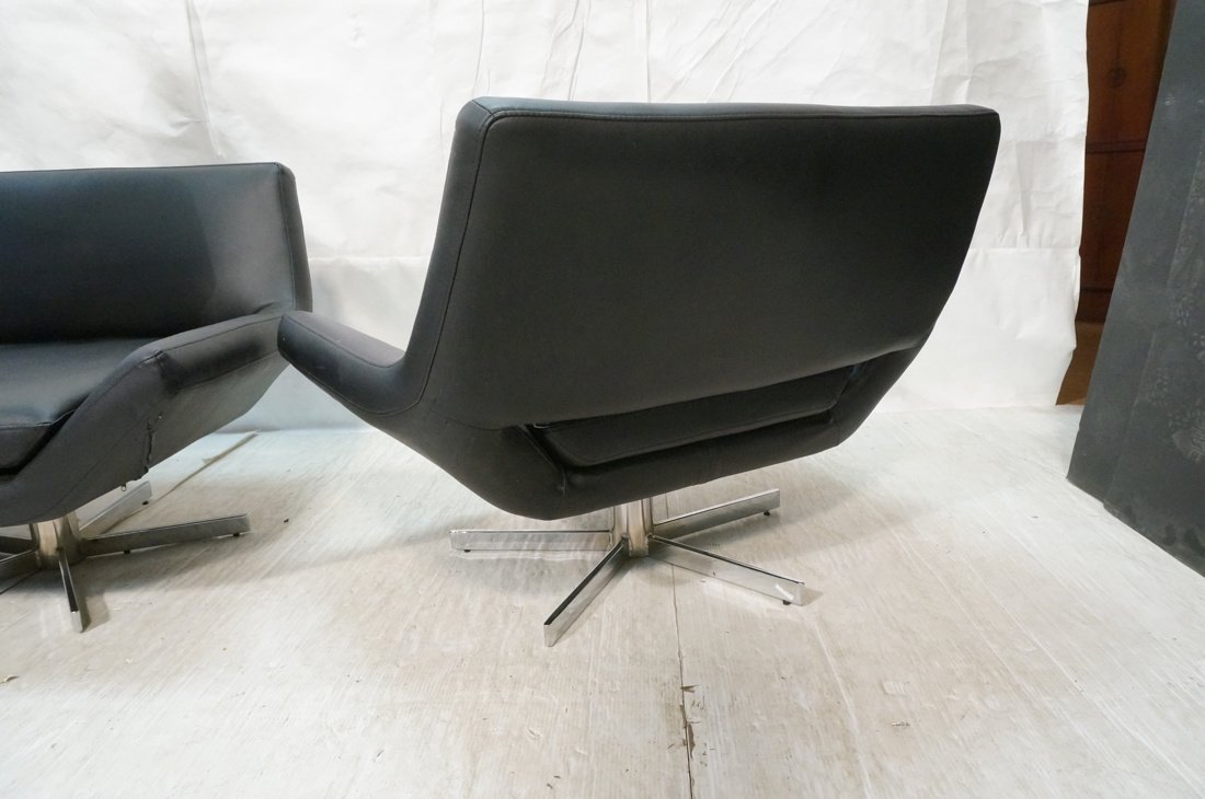 2pc Black Vinyl Sofa & Lounge Chair. Chrome pedes - 10