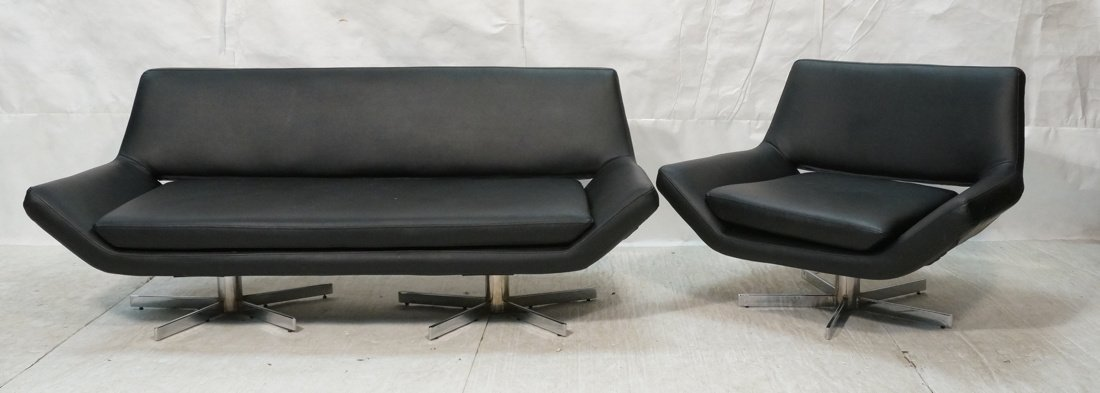 2pc Black Vinyl Sofa & Lounge Chair. Chrome pedes