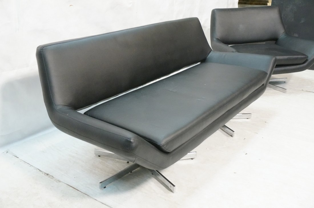 2pc Black Vinyl Sofa & Lounge Chair. Chrome pedes - 2