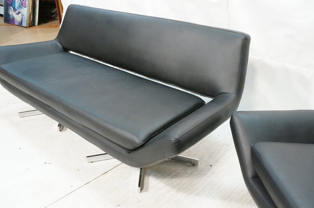 2pc Black Vinyl Sofa & Lounge Chair. Chrome pedes - 3