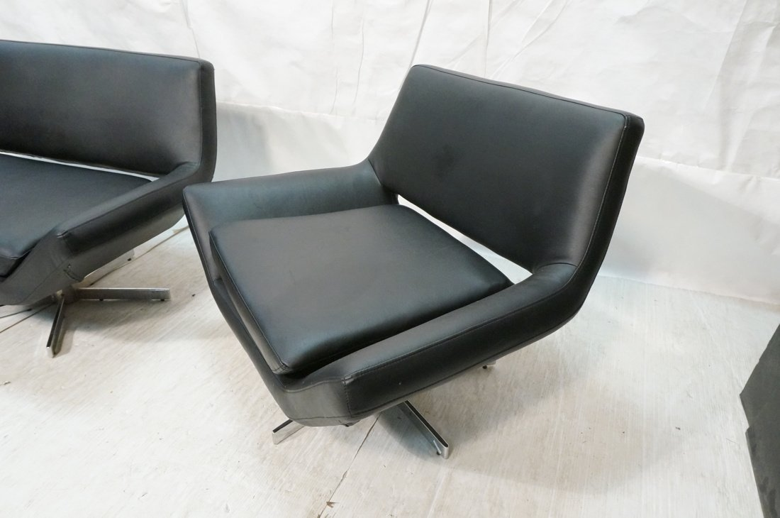 2pc Black Vinyl Sofa & Lounge Chair. Chrome pedes - 4