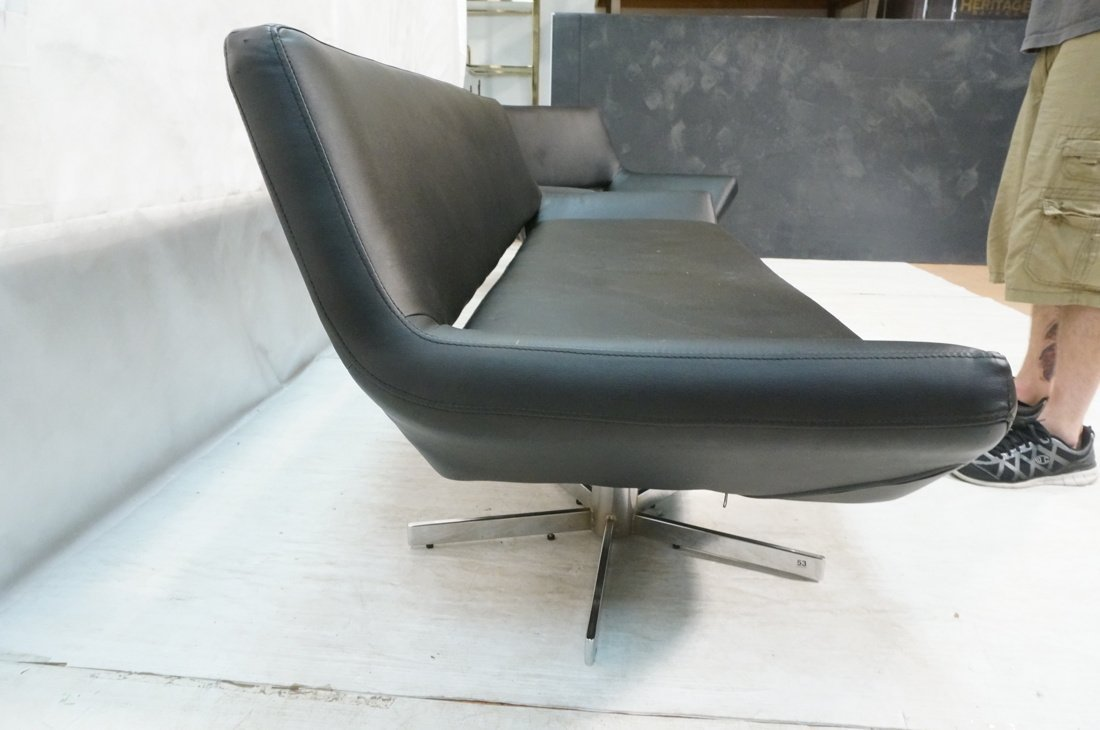 2pc Black Vinyl Sofa & Lounge Chair. Chrome pedes - 7