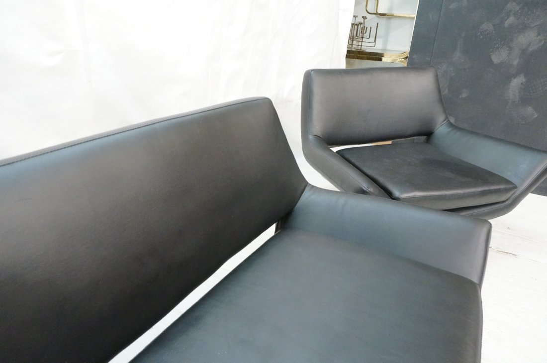 2pc Black Vinyl Sofa & Lounge Chair. Chrome pedes - 8