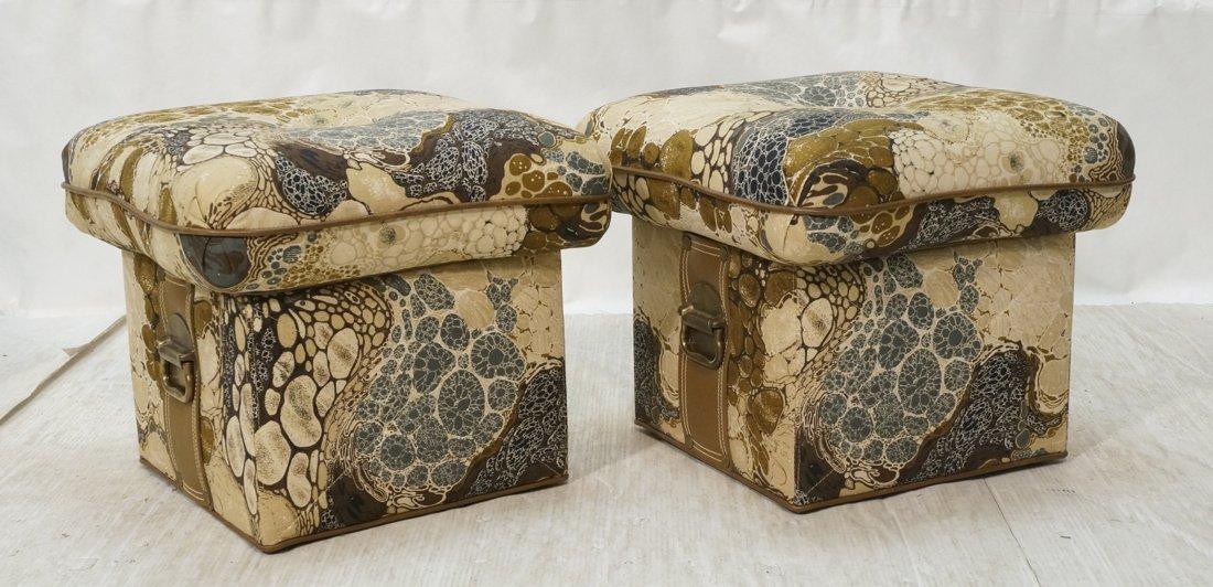 Pr ZACARONI for SCHAFER Cushion Top Stools. Pebbl