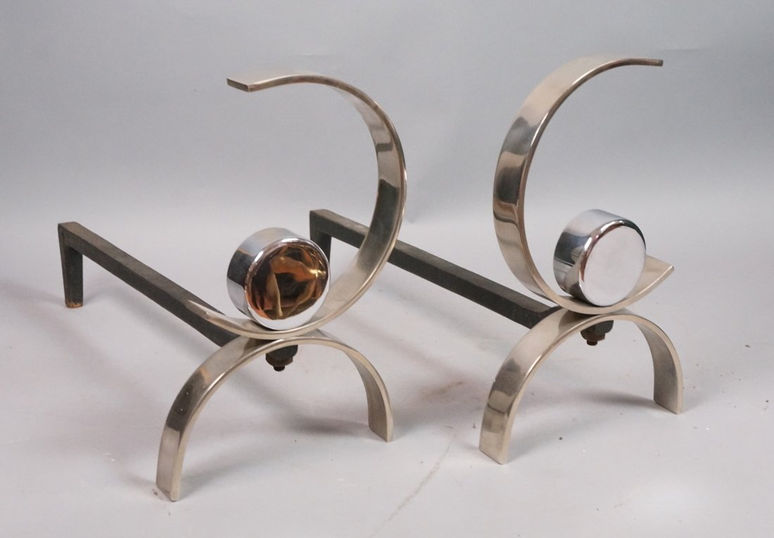 Pr Chromed Steel  DONALD DESKEY Andirons. Moderni