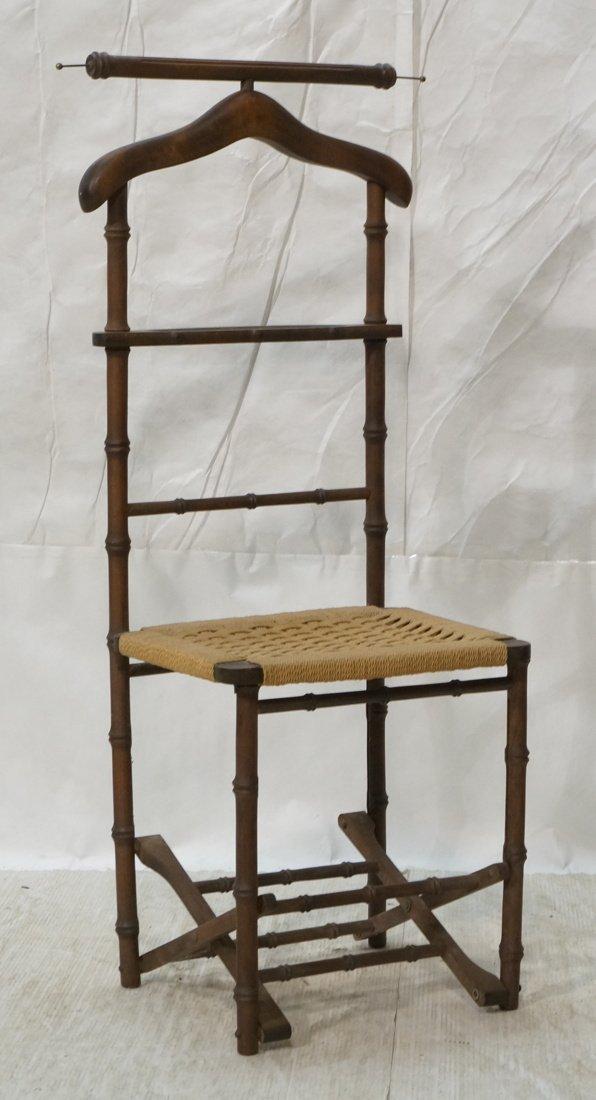 Italian Wood Faux Bamboo Rush Seat Folding Travel