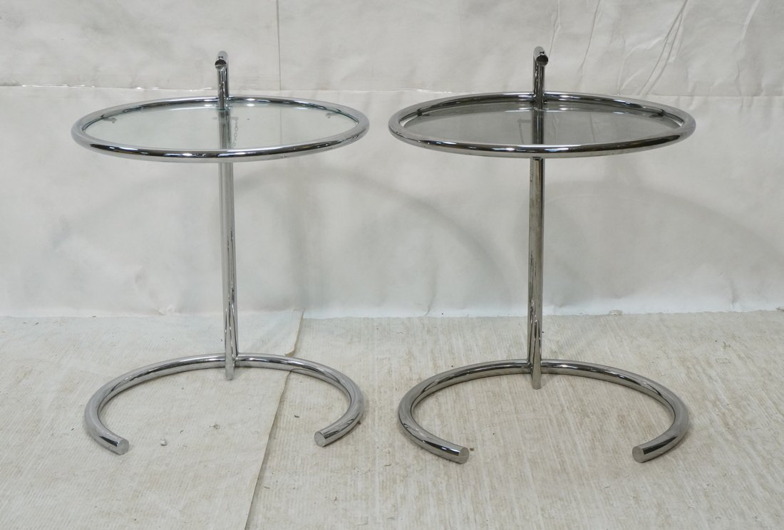Pr EILEEN GRAY style Chrome Side Tables. Smoked G