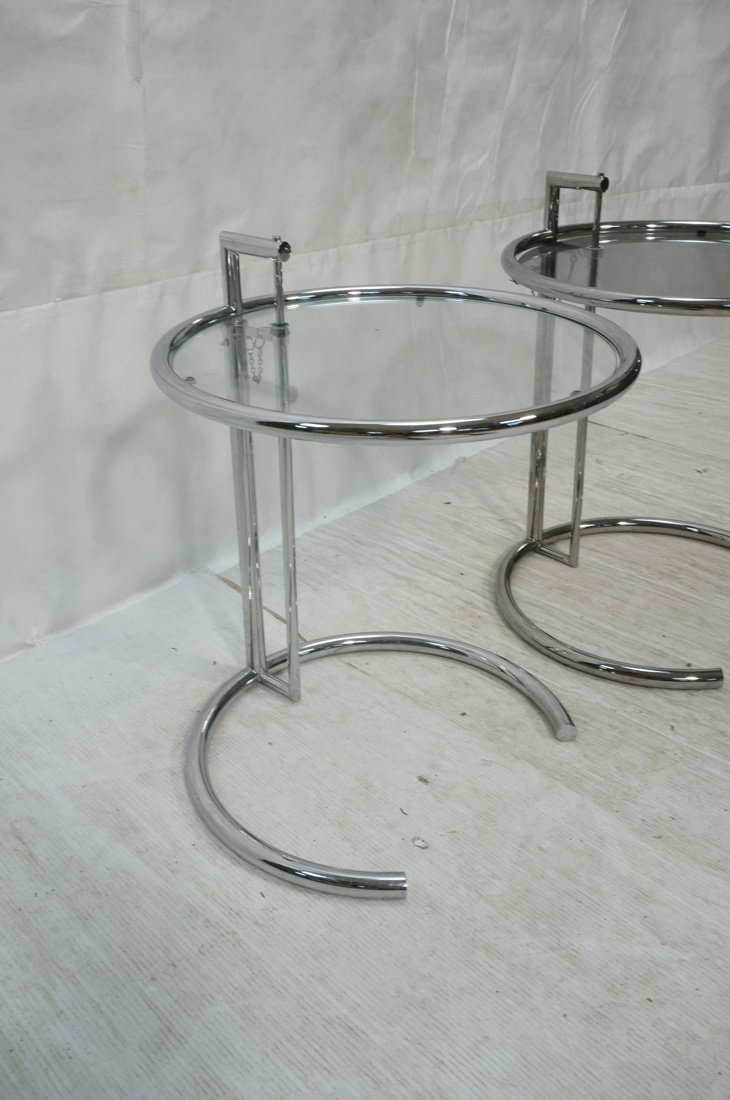 Pr EILEEN GRAY style Chrome Side Tables. Smoked G - 2