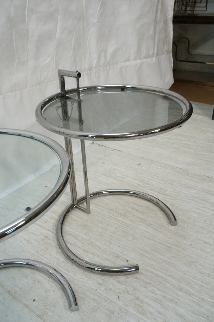 Pr EILEEN GRAY style Chrome Side Tables. Smoked G - 3