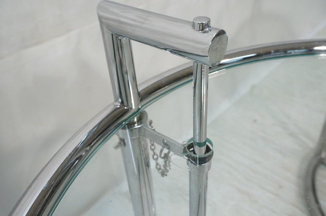 Pr EILEEN GRAY style Chrome Side Tables. Smoked G - 4